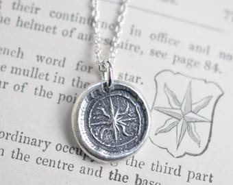 star wax seal necklace - estoile or etoile 8 pointed star - guidance, truth, hope - inspirational gift - post medieval wax seal jewelry