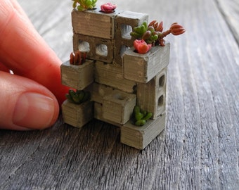 TINY Miniature Cinderblock Planter, Made in the USA, Includes Plants, Care Instructions, Handmade, Half Inch, Exclusive, Dollhouse Miniature