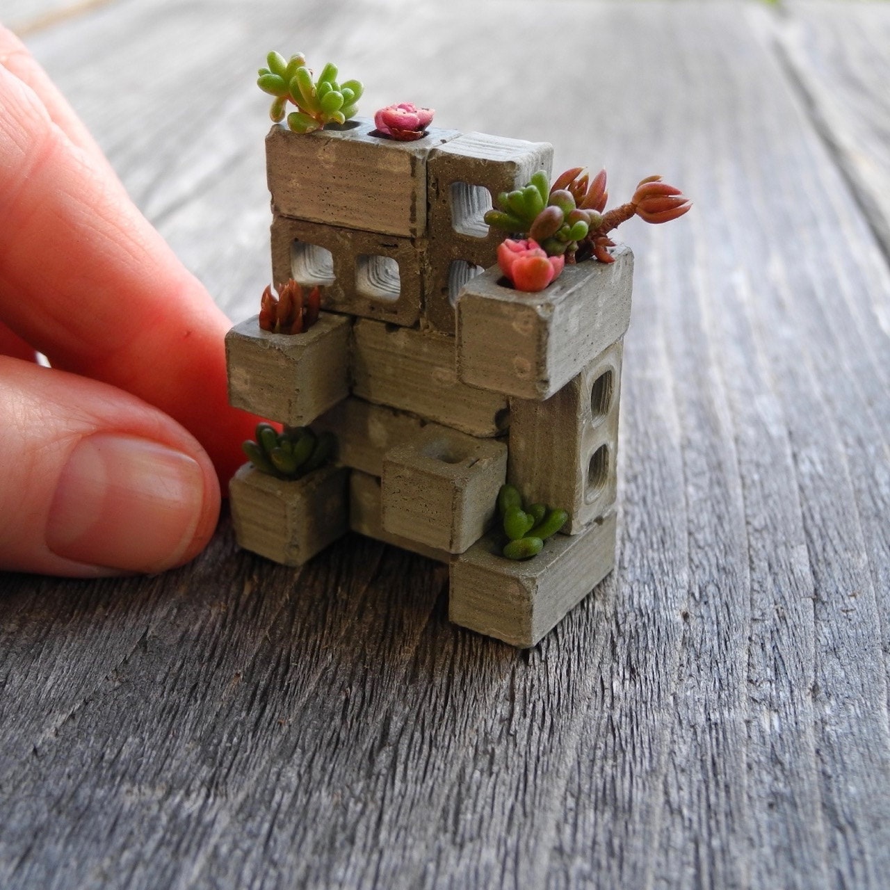 TINY Miniature Cinderblock Planter Made In The USA Includes