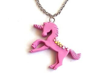 Pastel Unicorn Necklace, Purple Rainbow Unicorn Pendant, Kawaii Jewelry, Pastel Goth Jewelry