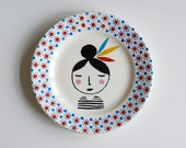 Girl with feathers in her hair small vintage plate