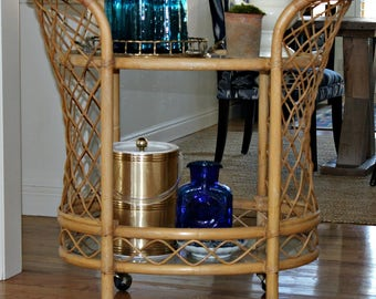 Boho bar cart, vintage bar cart, bamboo, mid century bar cart, rolling bar cart, serving cart, tea cart