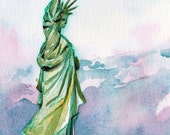 Statue of Liberty Art Print - Reproduction of Original Art of Lady Liberty - Watercolor and Ink Print of American Landmark in New York City