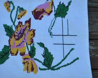 Flowered Waffle Weave Cotton Counted Cross Stitchpillow Cover - Flowers