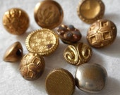 Lot of 11 ANTIQUE VINTAGE Tiny Metal BUTTONS