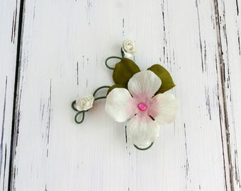 ivory, green & pink hydrangea flower hair clip - twisted wire flower hair clip, fairy hair