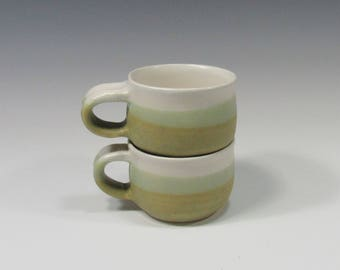 Coffee cup set - espresso cups - cortado cups - tea cups set - ceramic teacups set - pottery coffee cups - set of two green and white cups