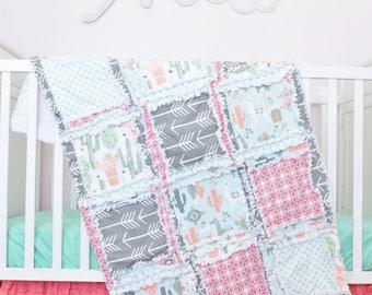 Llama Nursery- Coral / Gray / Mint Nursery Baby Bedding- Cactus Crib Bedding- Southwest Nursery- Bumperless Crib Set / Quilt / Sheet / Skirt
