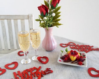 Miniature CHAMPAGNE & CHOCOLATE Raspberry Twinkie Heart Dessert and FLOWERS - Realistic 1:6 Scale Food for Fashion Dolls and Action Figures