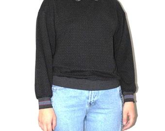 80s collared shirt 1980s vintage grey purple pink + green micro heart sweatshirt medium
