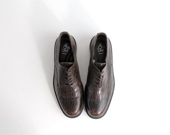 size 9.5 | Joan & David Brown Leather Oxfords | Croc Embossed Leather Shoes | Handmade in Italy | 39.5