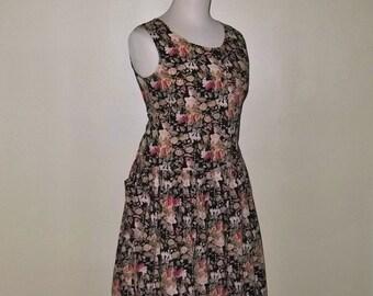 Vintage Dropped Waist 90s Romantic Grunge Cotton Dress L