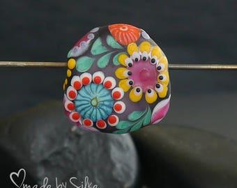 Handmade lampwork bead focal   |  Happy Spring day  |  free-formed | lentil  |  SRA  |  artisan glass |  Silke Buechler