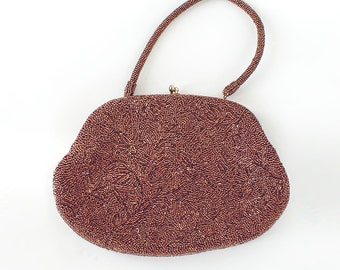 50s 60s Vintage Bronze Beaded Bag by Josef