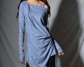 Star Dust - asymmetrical zen cotton tunic / cold shoulder dress off shoulder draping toplight blue tunic dress dusty orange top (Y1977v)