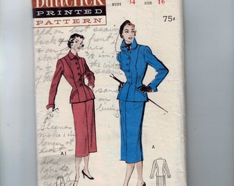 1950s Vintage Sewing Pattern Butterick 5500 Misses Two Piece Skirt with Five Gore Skirt Size 16 Bust 34 1950s 50s