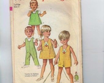 1960s Vintage Girls Sewing Pattern Simplicity 8166 Girls and Boys Toddler Jumper Dress Overalls Romper Blouse Size 3 Breast 22 1969 60s