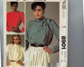 1980s Vintage Sewing Pattern McCalls 8901 Misses Gathered Shoulder Blouse Top Shirt Pussy Bow Secretary Size 12 Bust 34 Waist 26 27 1984