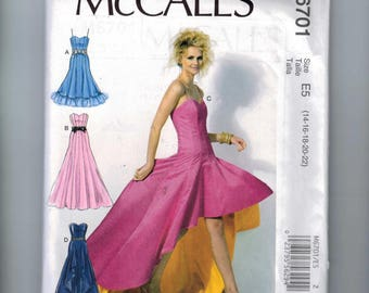 Misses Sewing Pattern McCalls M6701 6701 Misses Hi Low Strapless Gored Party Dress Prom Evening Gown Size 6 8 10 12 14 16 18 20 22 UNCUT