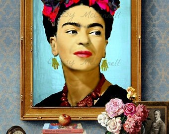 Frida Kahlo Modern Photomontage Poster Print Instant Digital Download Mixed Media Collage Black Aqua Blue Red Pink All Sizes Photograph