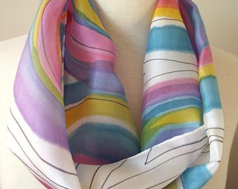 "Hand Painted Silk Infinity Scarf- 9x60"" Abstract Design- Circles in Turquoise, Pink, Mauve, Blue, Yellow with Black Graphic Lines"