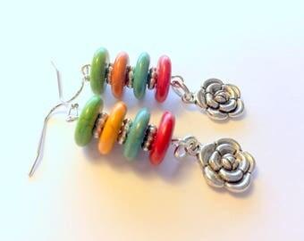 Flower Rainbow Tower Handmade Beaded Earrings
