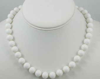 Monet White Glass Beaded Necklace - Vintage White Beaded Necklace - Classic Vintage Beaded Choker - Designer Monet Vintage Necklace