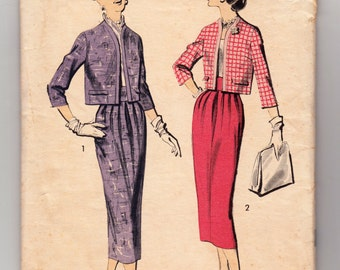 """Vintage Sewing Pattern Advance 8259 Ladies' Suit Jacket & Skirt 1950's 36"""" Bust - With FREE Pattern Grading E-Book Included"""