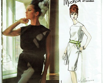 "Vintage Sewing Pattern Vogue 1465 Couturier Michael of London Dress 32"" Bust - Free Pattern Grading E-book Included"