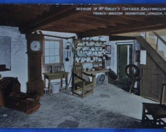Postcard Interior McKinley's Cottage Ballymaclinton Franco British Exhibition London England UK 1908