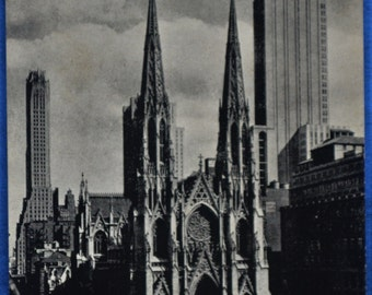 Postcard St Patrick's Cathedral New York NY Antique Divided Back Black and White