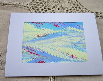 Clouds and Sky - Hand Marbled Blank Frame Card (A7)