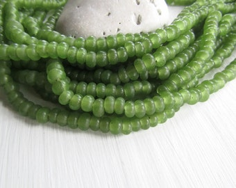 green glass beads green rondelle lampwork beads semi matte translucent disc washer spacer