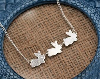 Rabbit Necklace, Bunny Pendant, Animal Necklace, Hare Necklace, Rabbit Jewelry