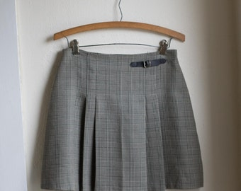 Vintage 90's Plaid High Waisted Gray Skirt // GRUNGE High Waist Mini Pleated Skirt -  28 inch Waist