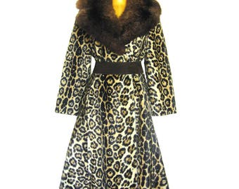 Vintage Leopard Princess Coat / Flared Coat with Large Fur Collar / Flared Coat / Faux Leopard Coat / Robert Meshekoff Original /