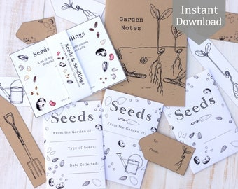 Seed Bundle - Seed Envelopes & Tags + Gardening Notebook Cover with Seeds and Seedlings Cards - Printable PDF, Educational, Botany
