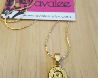 9mm Bullet Necklace, 14K Gold Chain