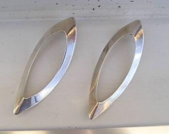Vintage Sterling & 14K Gold Modernist Geometric Drop Earrings