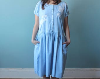 chambray dress with white embroidered flowers | drop waist cotton dress | 1990s small medium