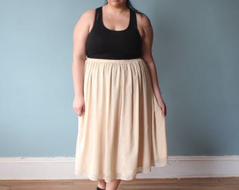 plus size skirt | vanilla double layered full midi skirt | 1990s XL - XXL