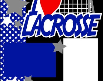 Lacrosse 2-Page 12X12 Scrapbook Page Kit or Premade Layout - You choose colors.