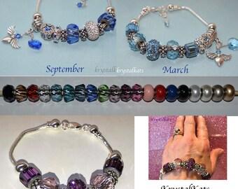 Large Hole Becharmed Swarovski Crystal Bead, Birthstone Bracelet, Anniversary Bracelet, Graduation Gift, Mothers Day Gift, Custom Bracelet