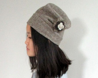 Brown Tweed Cloche with Fleece Lining and Detachable Flower from The Bent Tree Gallery