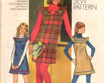 1970s Simplicity 5154 Vintage Sewing Pattern Young Junior/Teen Jumper, Mini-Jumper Size 9/10 Bust 30-1/2