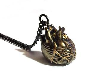 Anatomical Heart Pendant // Heart Necklace // Black Heart Necklace // Human Heart Necklace // Anatomy Necklace // Anatomy Jewelry