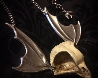 Owl Skull Necklace // Bird Skull Necklace with Bat Wings // Taxidermy Jewelry // Gothic Necklace