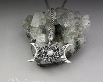Triple Goddess in flowers with a moonstone - sculpted silver pendant, limited collection