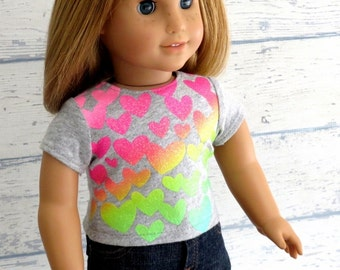 18 inch Doll Clothes Sparkle Heart Tee, Trendy Tee Shirt in Heather Gray with Glitter Hearts
