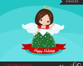 Christmas Angel Clipart 2. Brunette, holiday, ornaments, illustration, graphic, cute, character, religious